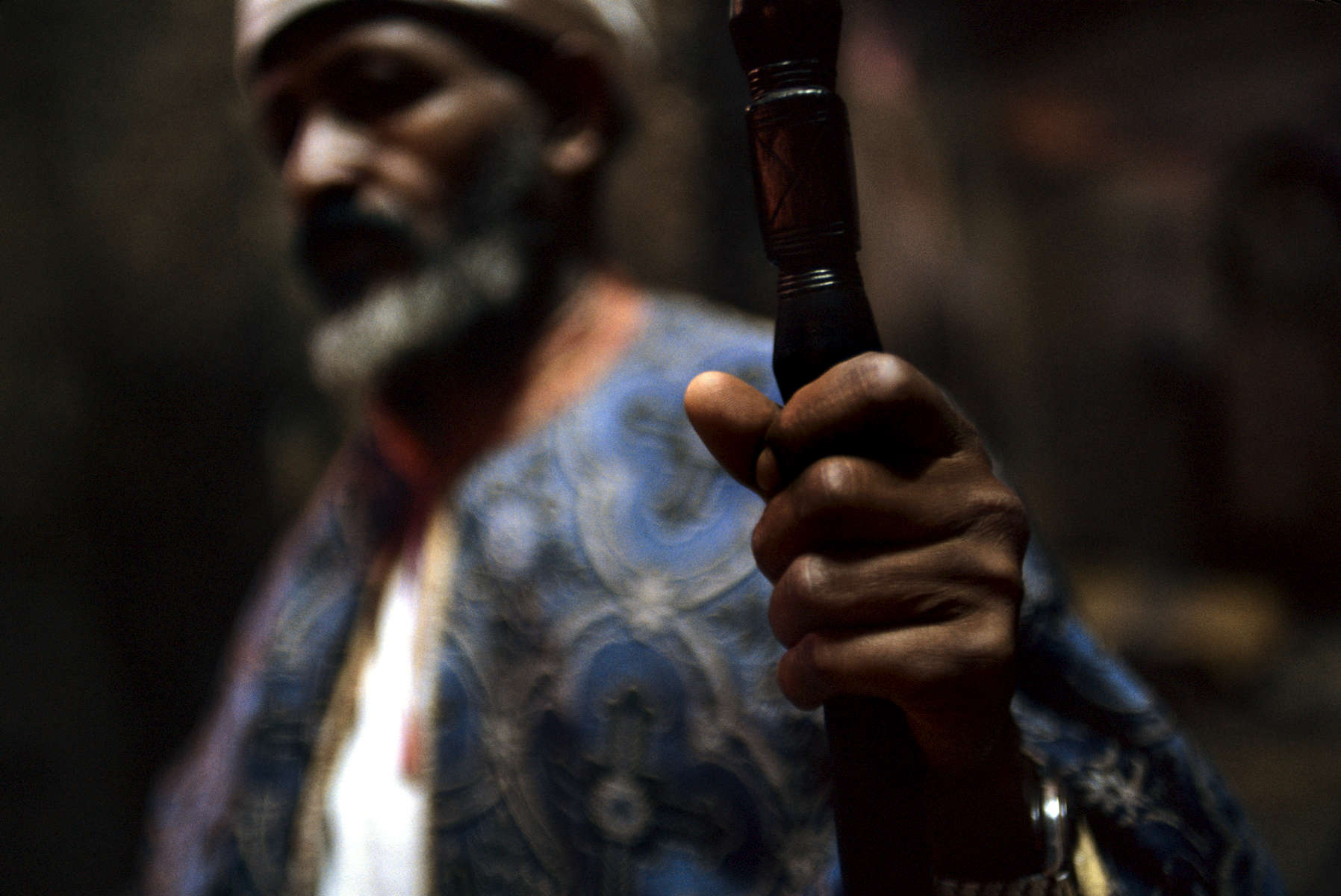 Coptic priest in orthodox church, Lalibela, Ethiopia 2004