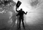 Pakistani lawyers protesting against President Pervez Musharraf are beaten back with tear gas and water cannons.