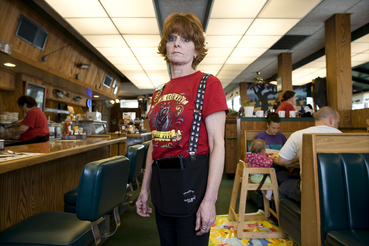 Sandy Dallegres, 47, waits for the customers at the Black Bear Diner in Willow, California. Her tips are also down sigificantly.