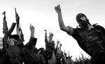 Islamic Jehad militants rally after Friday prayer in the Rafah refugee camp in the Gaza Strip.