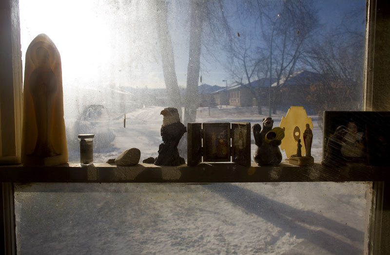 A cold winter day seen through the window of a North Central residence.