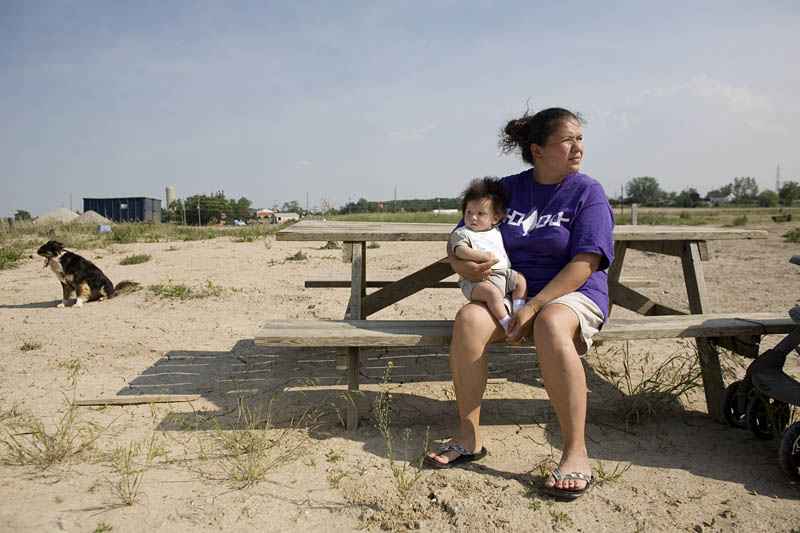 Six Nations spokesperson Janie Jamieson with her 4-month-old son Warren Justice Chavez Cook.