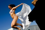 Sex worker, and 2006 Bunny Ranch Courtesan of the Year, Jenny Lane bounces on a trampoline.