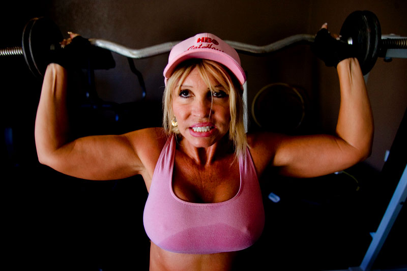 Sex worker Felicia Foxxx works out in the Bunny Ranch's gym.