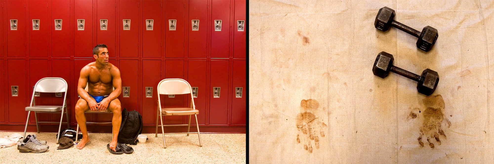 Left image: George Hatzigeorgio, waits by a row of lockers backstage before competing in the Potomac Cup bodybuilding competition in Woodbridge, VA. This was his first competition. Right image: A pair of weights lay on a canvas marked with self-tanner handprints backstage to be used by competitors before they perform their routines.