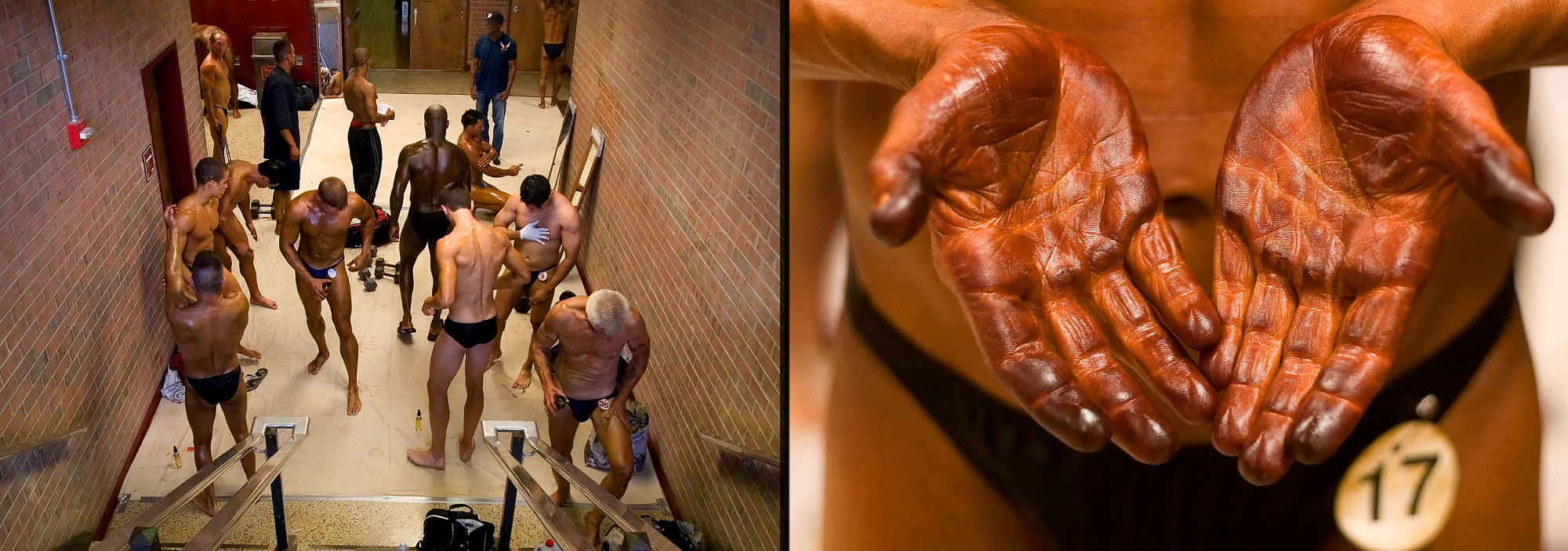 Right image: A competitor holds out his hands which are covered in self tanning cream. Left image: Competitors gather backstage to prepare for the Potomac Cup.