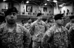 After returning home from a 12 month deployment in Afghanistan, US soldiers from the 10th Mountain Division receive awards for valor at the MaGrath Gym in Fort Drum, New York.