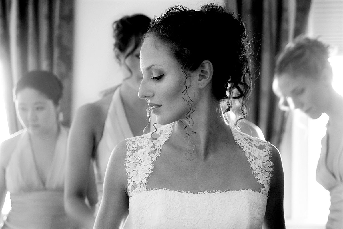 Karina gets ready before her elegant wedding that was photographed by New York and Philadelphia weddding photographers E. Leigh Photography.