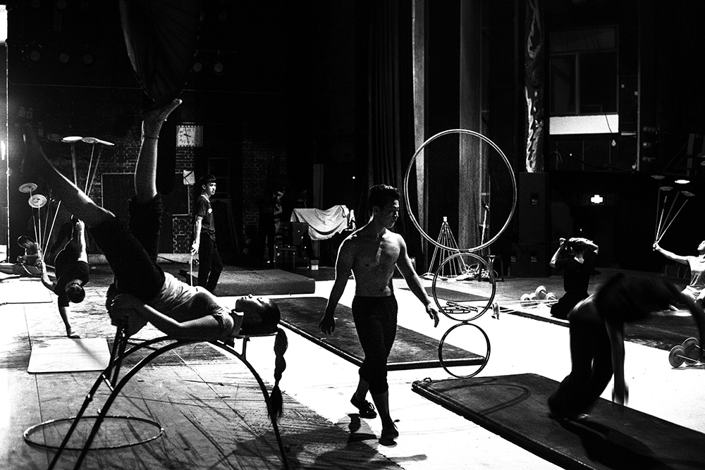 Performers  rehearse for a show in the afternoon inside a theatre in Beijing.
