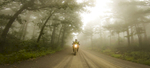 Motorcycling through the Ozark National Forest, Arkansas, on the Trans America Trail. This 5600 mile trail is a primarily off-road trail across the the United States starting at the Atlantic Ocean in North Carolina and ending in Oregon at the Pacific Ocean.
