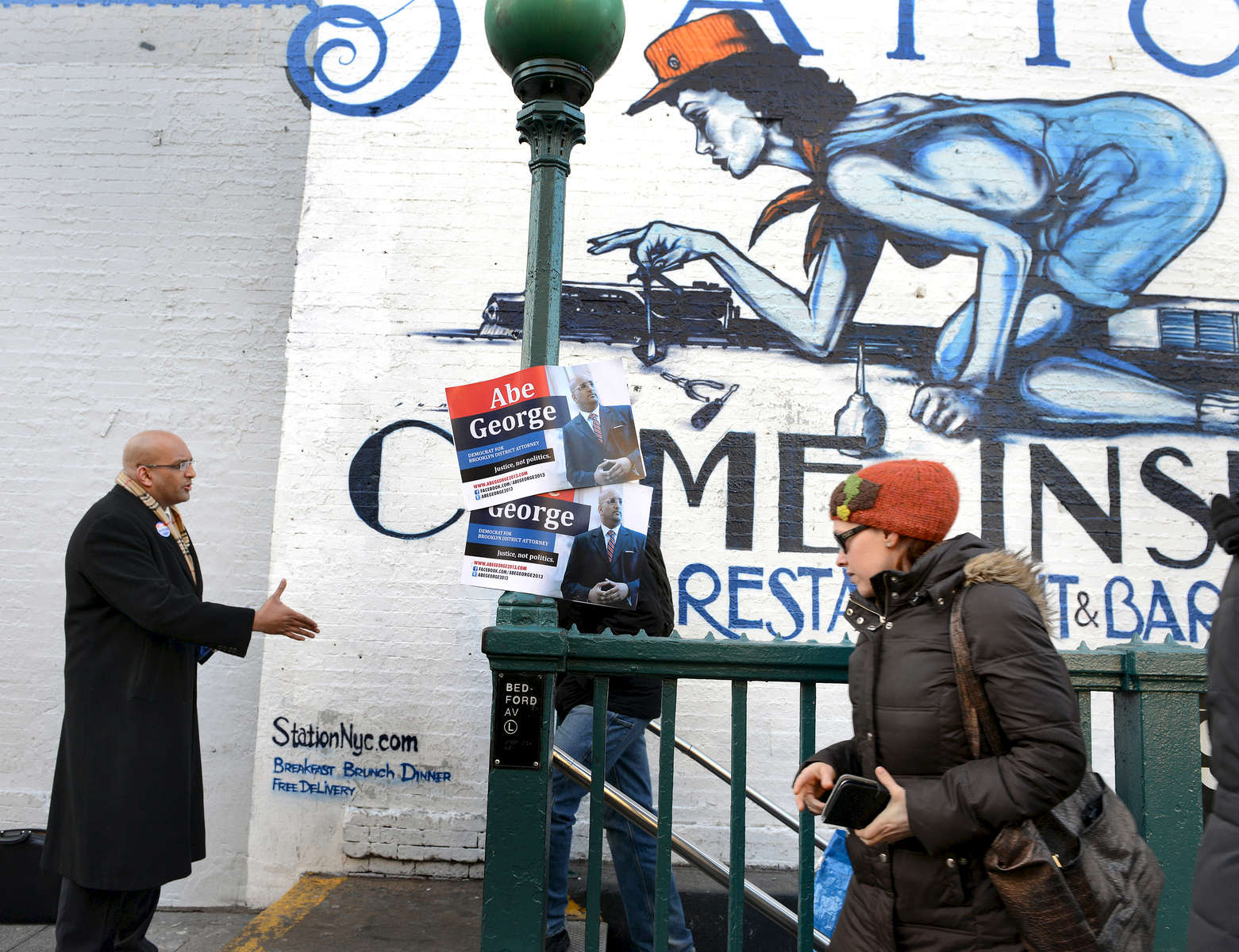 Abe George, candidate for Brooklyn District Attorney, Greets constituents at the Bedford Avenue subway station – February, 2011
