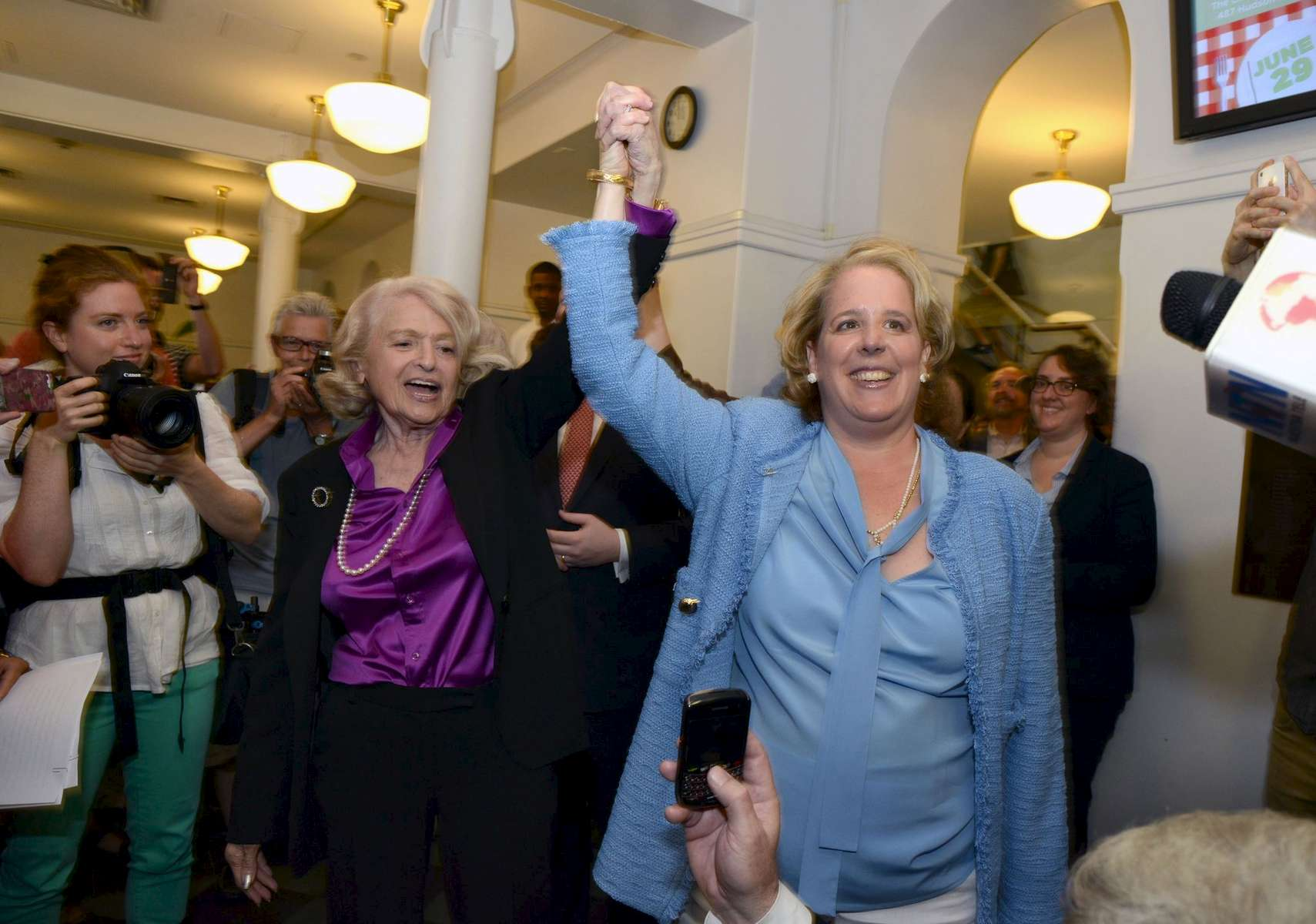 Edie Windor, left, and her attorney Roberta Kaplan celebrate the Supreme Court Decesion in United States v Windsor, Overturning The Defense of Marriage Act.