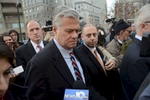 New York State Senate Majority Leader Dean Skelos, after his conviction in Federal Court.  His son Adam, right, was also convicted.