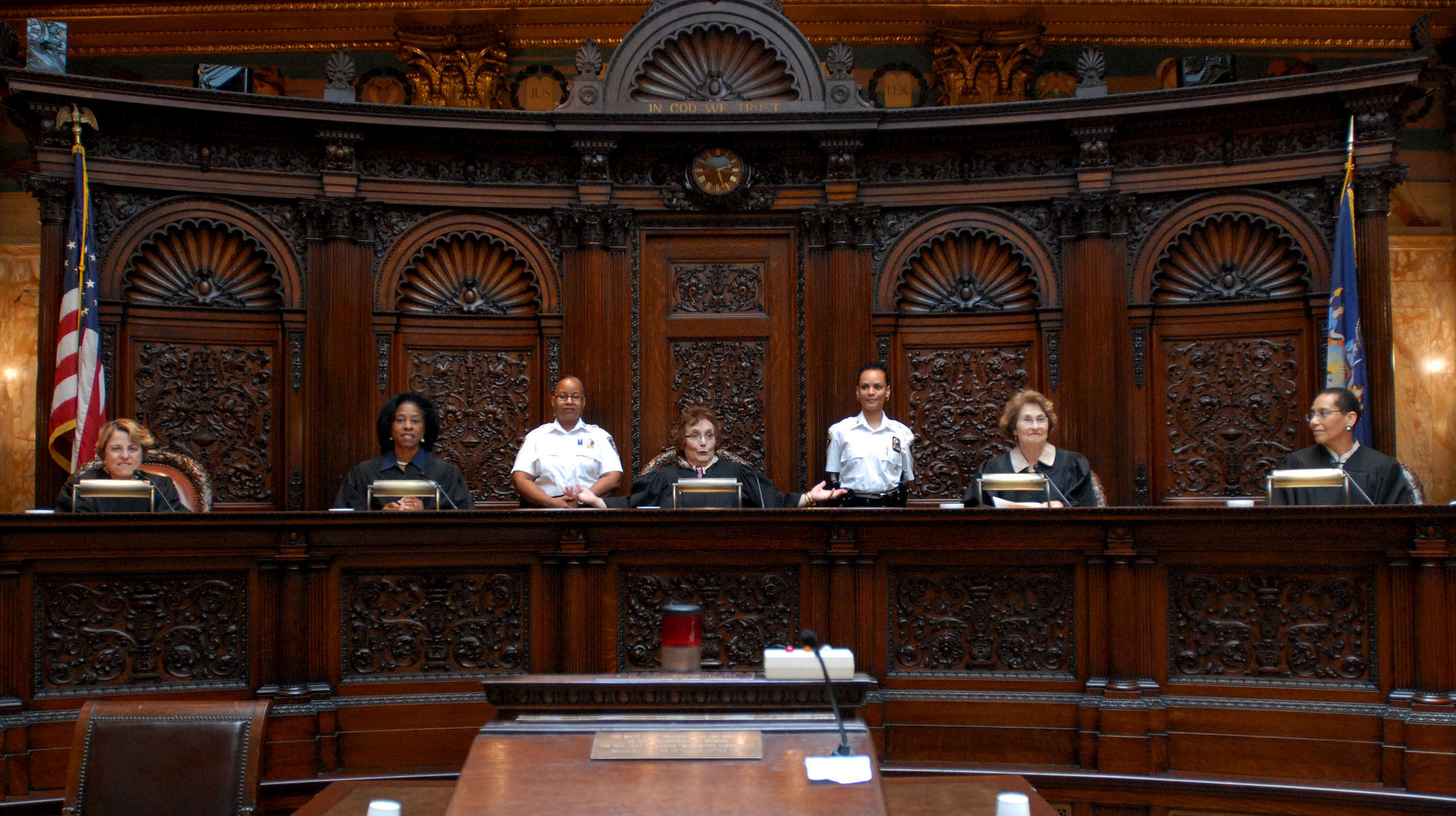 The first all woman panel at the Appellate Division, First Department    Left to right: Rosalyn H. Richter; Dianne T. Renwick; Angela M. Mazzarelli;    Helen E. Freedman; Sheila Abdus-Salaam – June, 2010