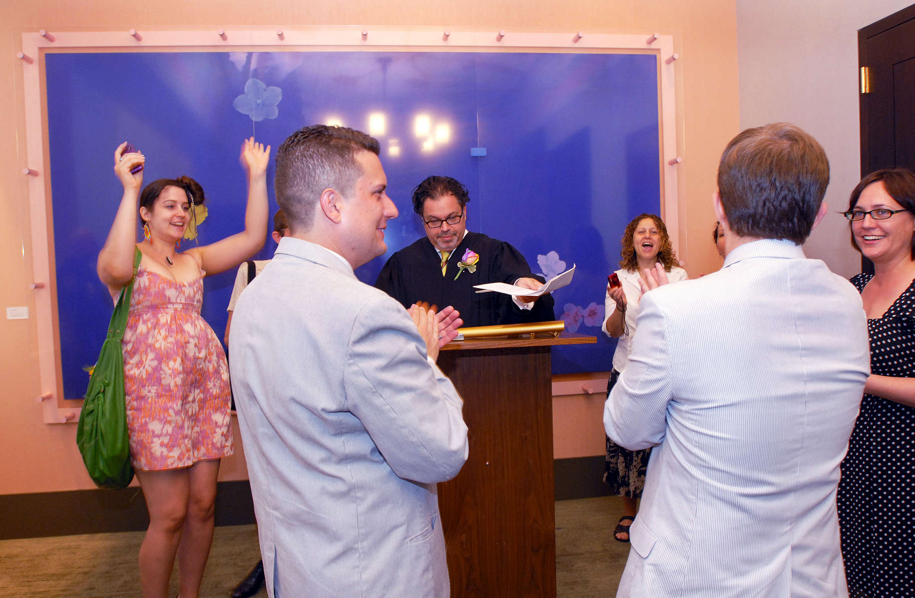 A gay couple was married at the NYC Marriage Bureau after same-sex marriage was legally recognized in New York State - July, 2011