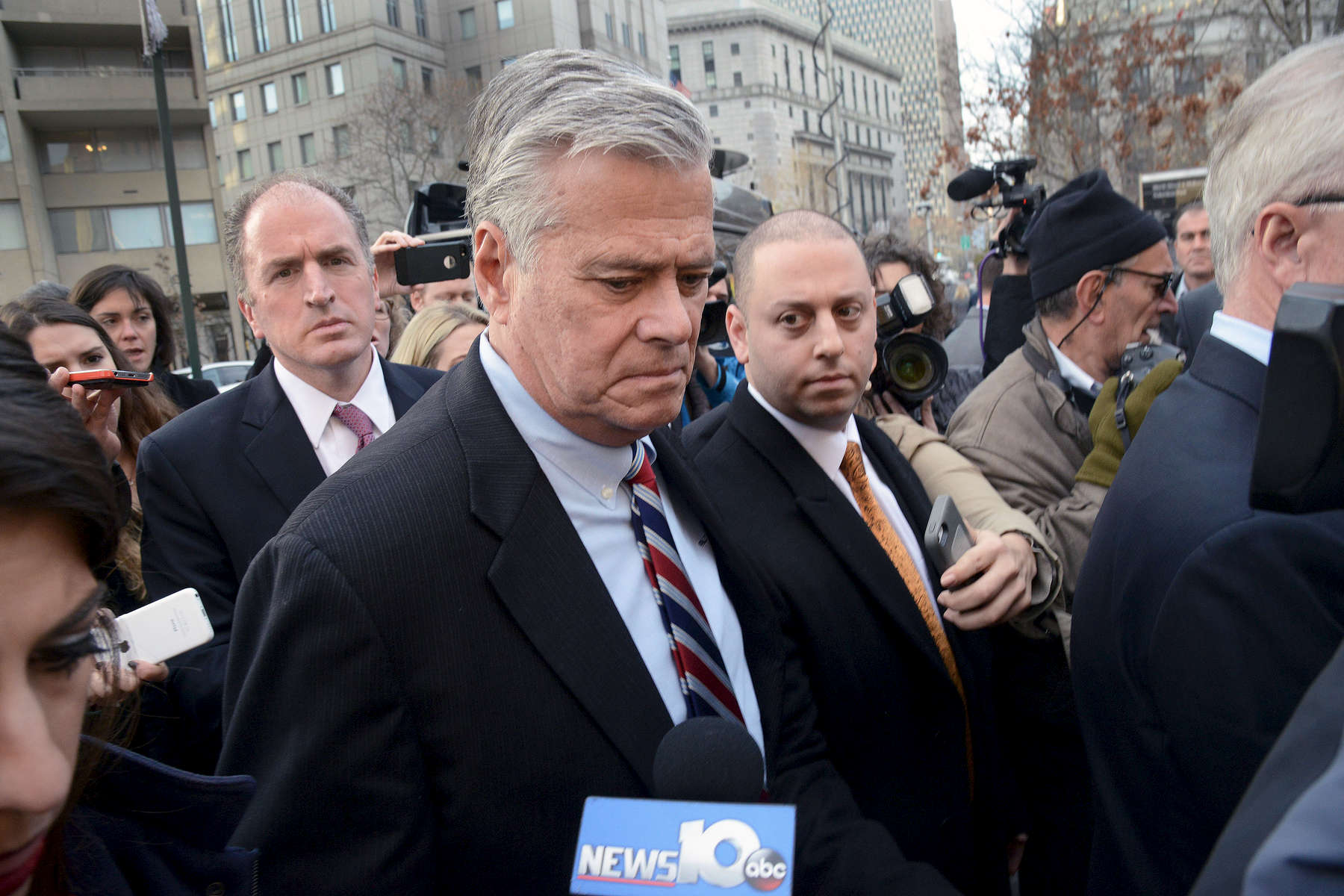 State Senator Dean Skelos and son Adam Skelos leave federal Court at 500 Pearl Street after their guilty verdicts on all charges – December, 2015