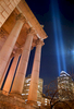 {quote}Tribute in Light{quote} World Trade Center memorial display as seen from State Supreme Court, 60 Centre Street. – March, 2002