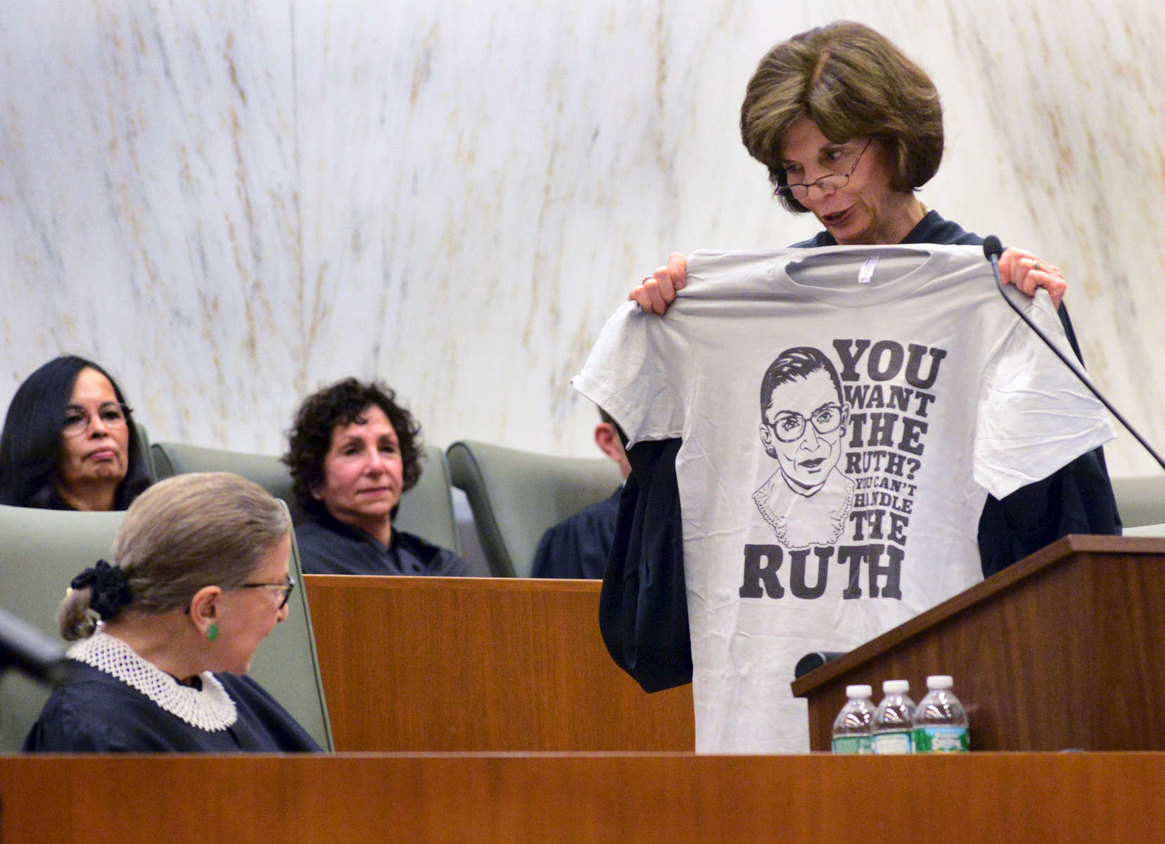 Eastern District Chief Judge Carol Amon presented U. S. Supreme Court Justice Ruth Bader Ginsburg with a T-shirt  - March, 2015