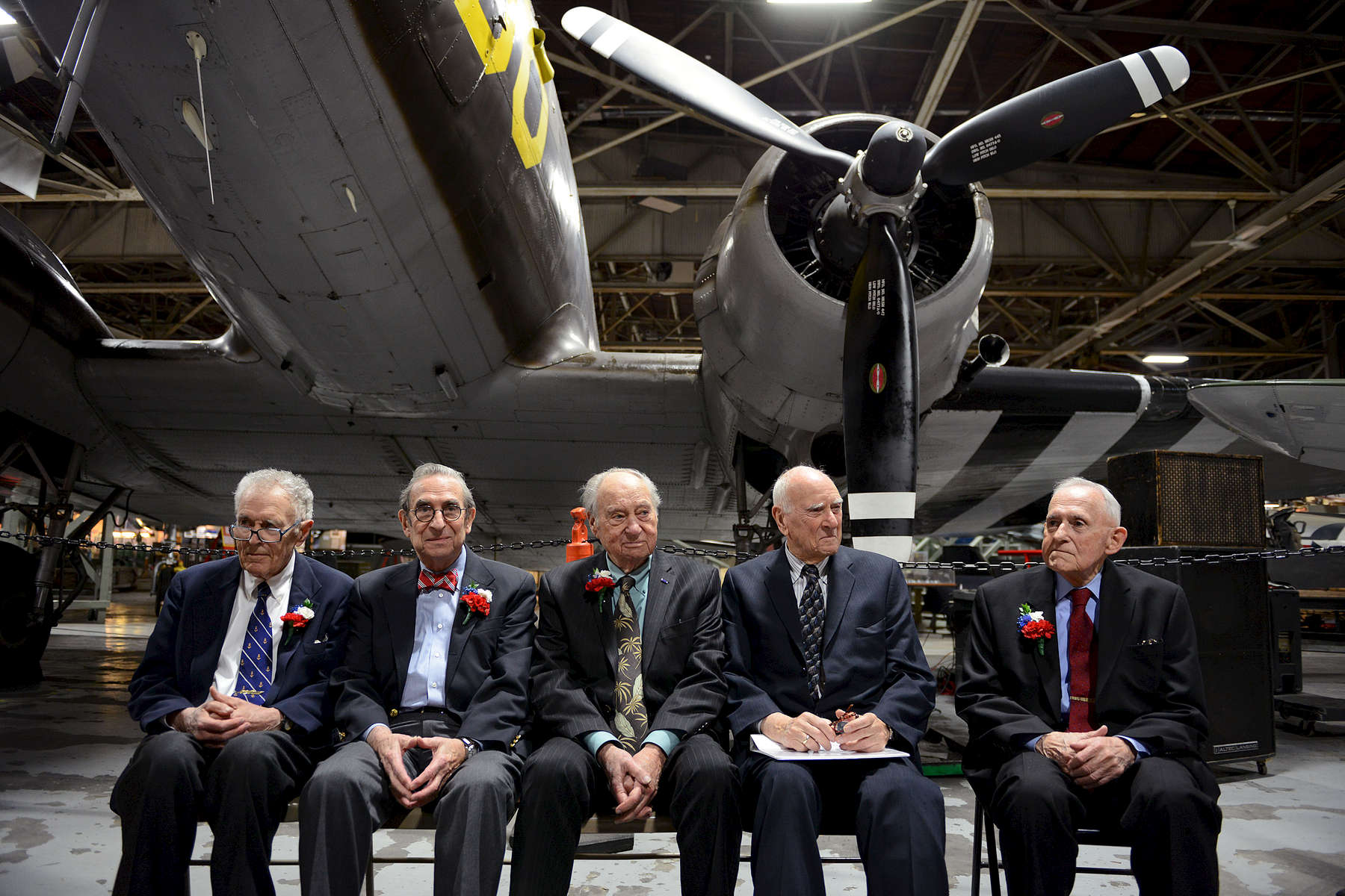 Judges of the Eastern District of New York, veterans of World War II, were honored at the American Airpower Museum, Republic Airport, Farmingdale, NYLeft to right: Thomas Platt, 87; I. Leo Glasser, 88; Leonard Wexler, 88; Jack Weinstein, 91 and Arthur Spatt, 86 - December, 2012