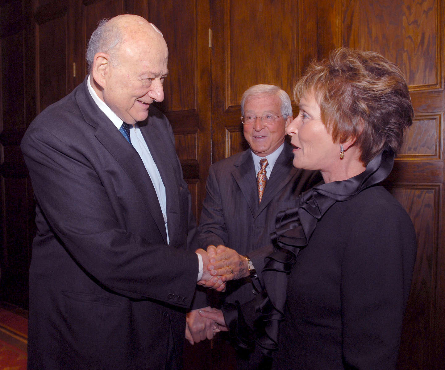 Television Judges Judy and Jerry  Sheindlin greet Mayor Koch at an event honoring Koch's appointment of judges over his tenure. Judge Judy was appointed to Family Court in 1982. Judge Jerry was appointed to Criminal Court in 1983 – September, 2008