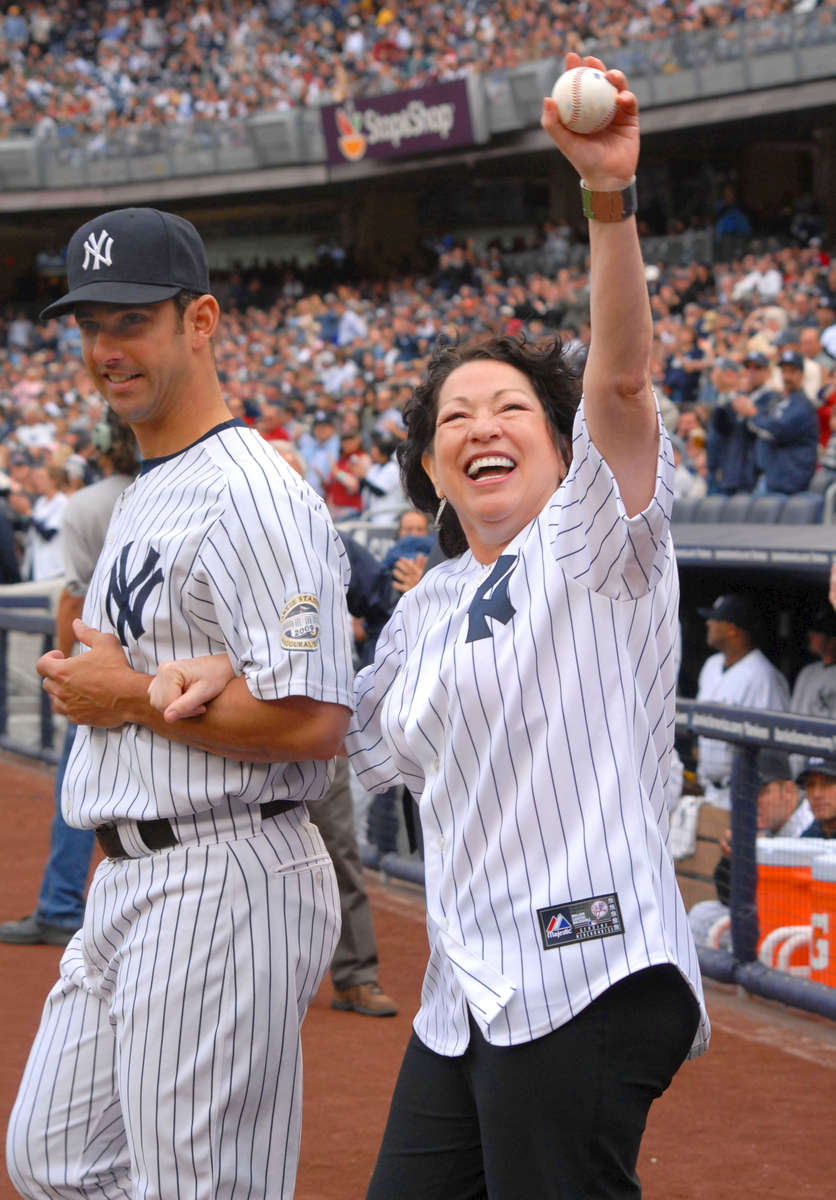 U. S. Supreme Court Justice Sonia Sotomayor throws out the first ball at Yankee Stadium – September, 2009
