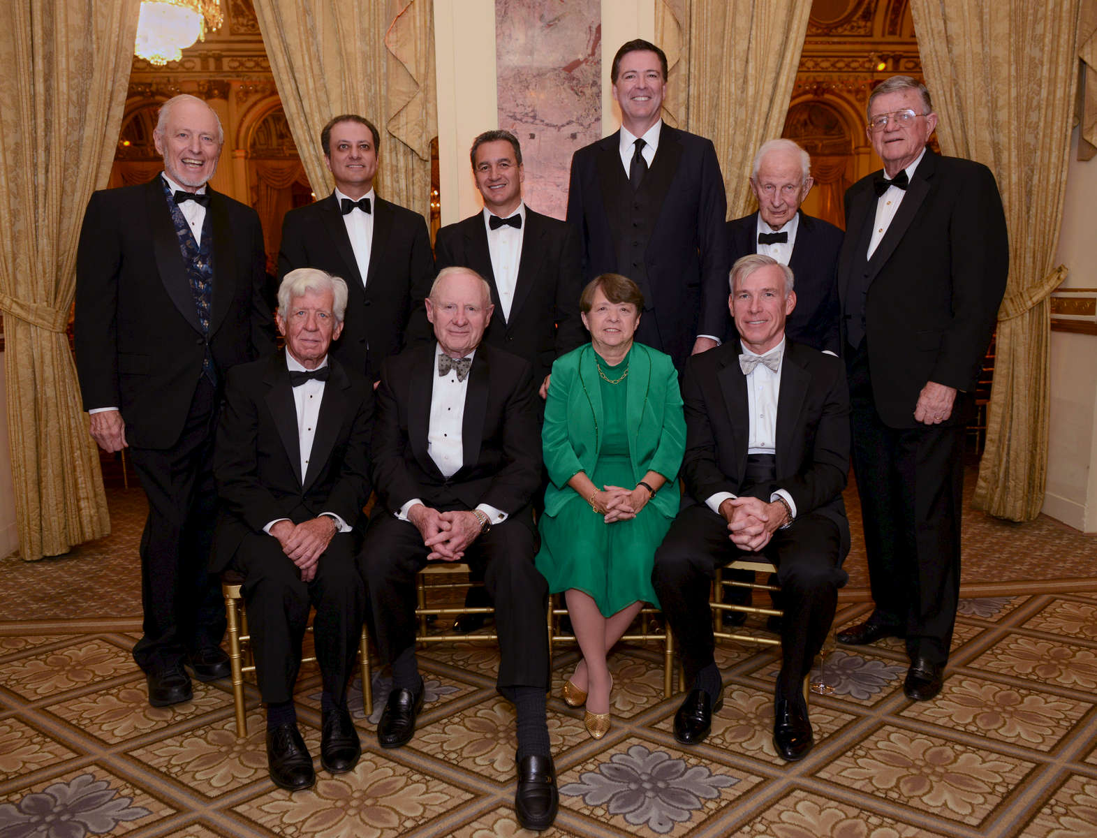 Present and former U. S. Southern District Attorneys of New York, attend the 225th anniversary celebration of the Southern District Office. Standing left to right:  Otto Obermaier; Preet Bharara; Michael Garcia; James Comey; Robert Morgenthau; John Martin.Seated: Thomas Cahill; Robert Fiske; Mary Jo White; Patrick Kelley – Plaza Hotel, September, 2014