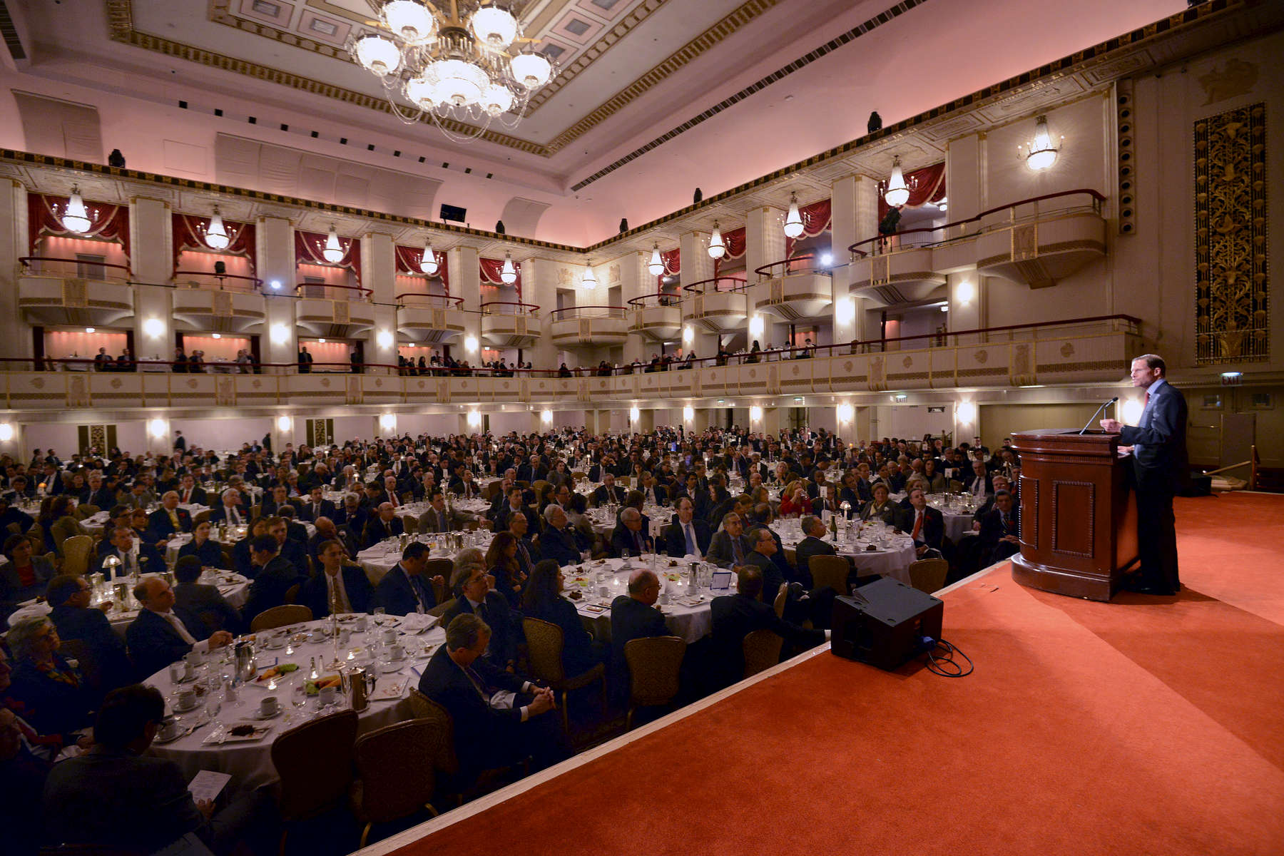 Connecticut U. S. Senator Richard Blumenthal addresses the crowd after he was presented with the Emory Buckner Medal in recognition of his outstanding public service, at the 2014 Federal Bar Council Thanksgiving Luncheon. Waldorf-Astoria Hotel Wednesday November 26, 2014