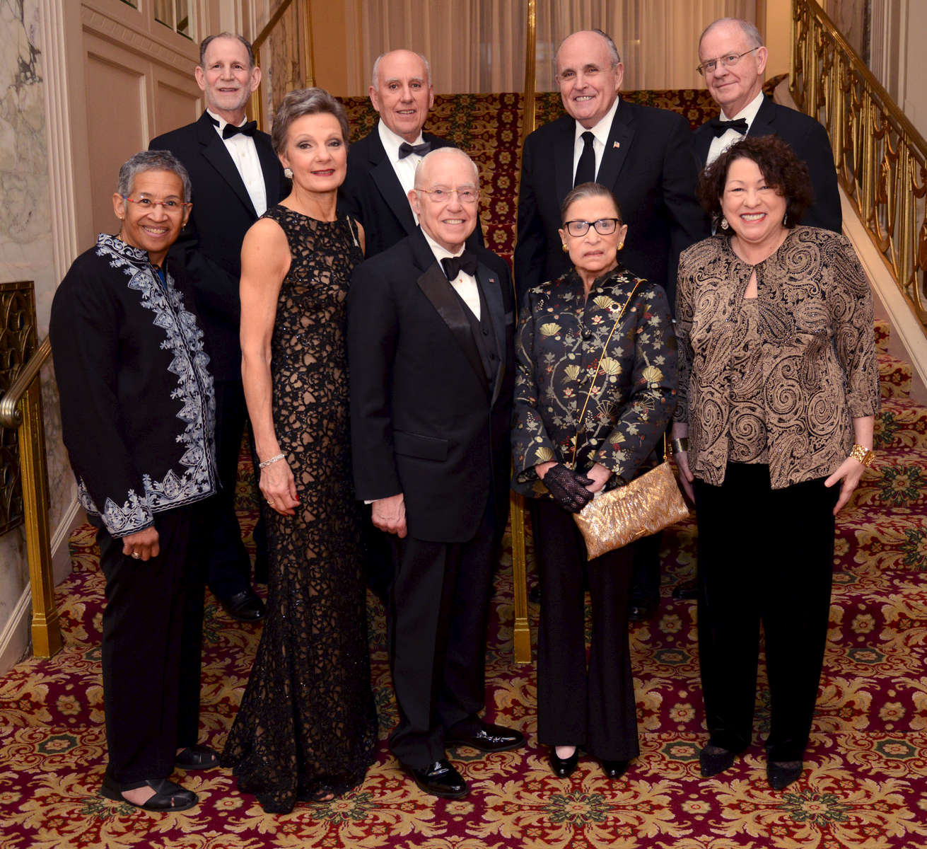 The New York County Lawyers\' Association held their 100th Annual Dinner on Wednesday December 17, 2014 at the Waldorf-Astoria Hotel.This year\'s honorees were: Front row second from left; SDNY Chief Judge Loretta Preska; Former U.S. Attorney General Michael Mukasey; U.S. Supreme Court Justices Ruth Bader Ginsburg and Sonia Sotomayor were speakers. Also on hand was SDNY Judge Deborah Batts, front row left.Back row from left: Lewis Tesser-NYCLA President; SDNY Judge P. Kevin Castel; Former NYC Mayor Rudolph Giuliani; and Robert Haig-partner at Kelley Drye
