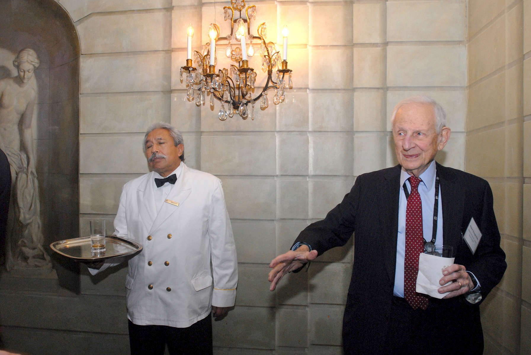 Waiter and Former Manhattan District Attorney Robert M. Morgenthau - Pierre Hotel, NYC.