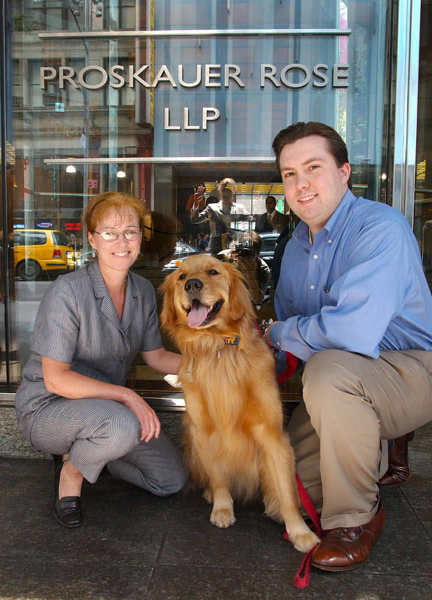 Stacey O. Fehey & Anthony T. Wladyka, Proskauer Rose, with Anthony's dog Virgil.