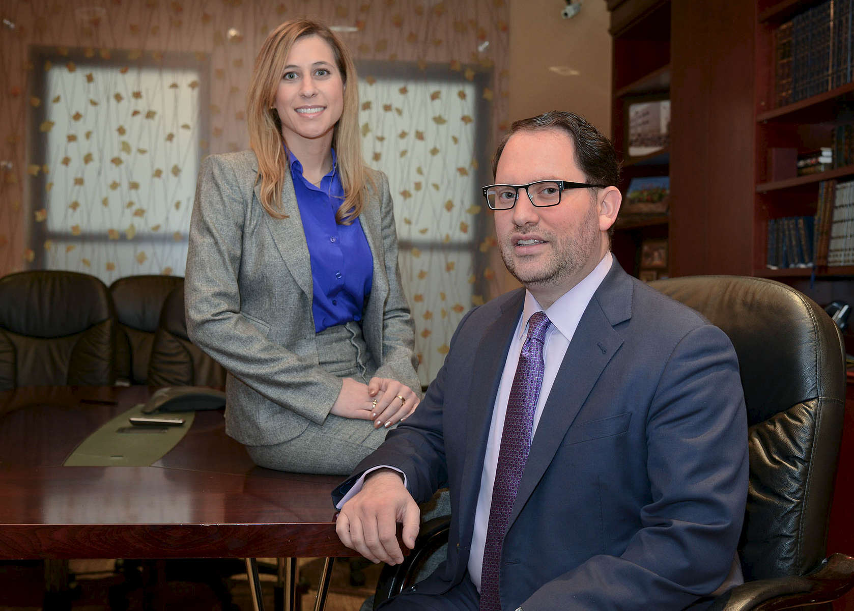 Elchonon Shagalov-seated, General Counsel & VP for Legal Affairs Diamonds International and Jessica Blumert-Associate, Office for Legal Affairs Diamonds International from Cardozo School of Law112613