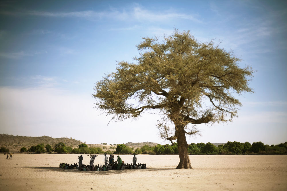 Preschool in a wadi (dried river bed) under the shade of a tree in Breidjing Refugee Camp, Eastern Chad.