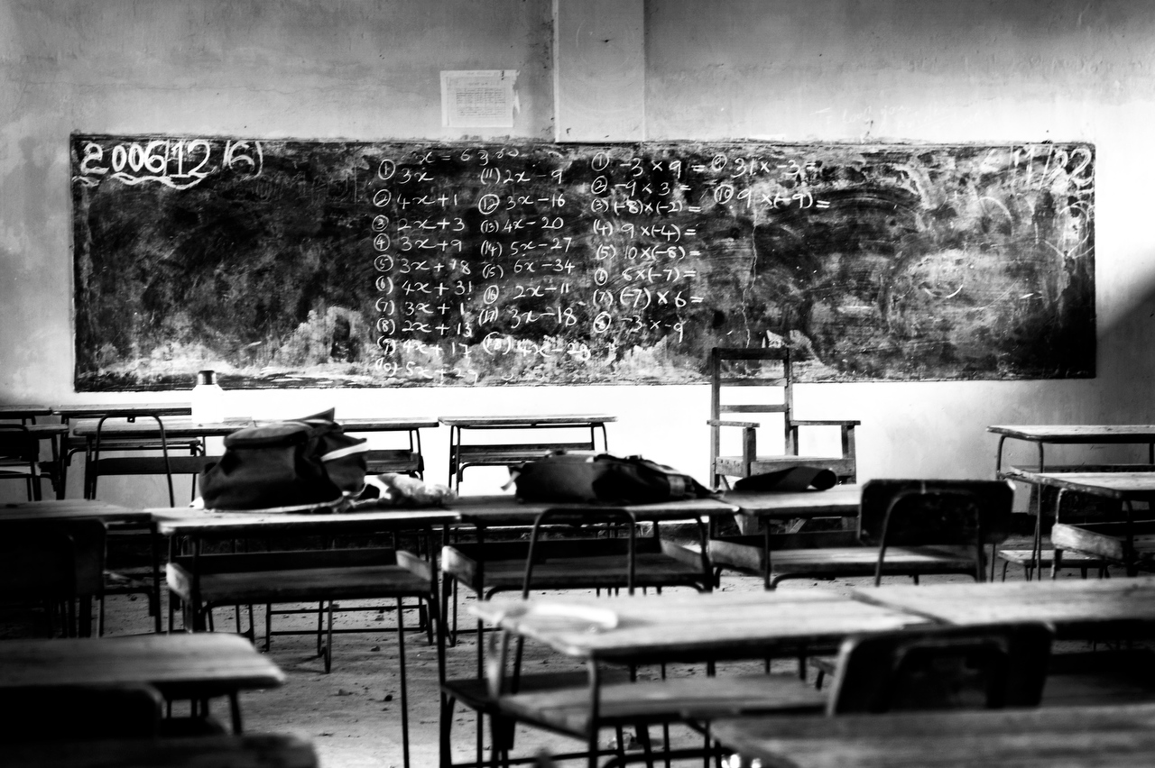 Belongings of school children lay on benches of the empty classroom after the Sri Lankan Army militrary post was shelled by the LTTE rebels in Somapura, Kallar Trincomalee.