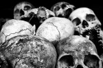Thousands of human skulls lay in the Genocide museum as a reminder of Khmer Rouge genocide.