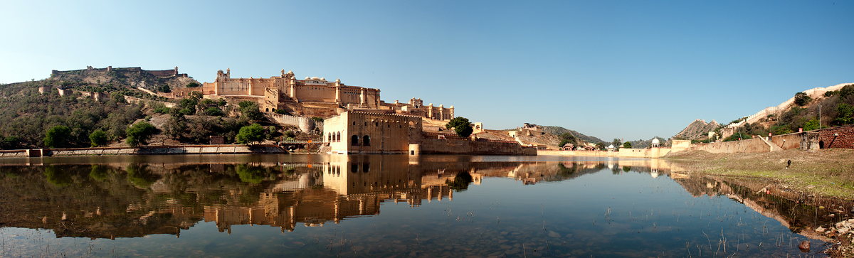 Panorama of the Amber fort outside Jaipur, Rajastan.Jaipur also known as the Pink City, is the capital and largest city of the Indian state of Rajasthan. During the British rule in India, Jaipur was the capital of the princely state of Jaipur. Founded on 18 November 1727 by Maharaja Sawai Jai Singh II, the ruler of Amber, the city today has a population of more than 3.5 million.Jaipur is the first planned city of India, located in the semi-desert lands of Rajasthan. The city which once had been the capital of the royalty now is the capital city of Rajasthan. The very structure of Jaipur resembles the taste of the Rajputs and the Royal families. At present, Jaipur is a major business centre with all requisites of a metropolitan city.