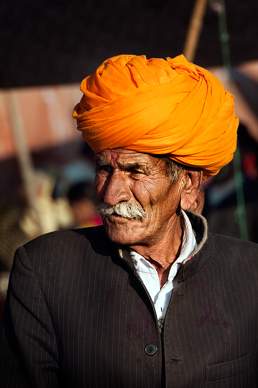 An elderly man with the traditional turban Jaipur, Rajastan.