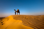 Thar desert, Jaisalmer. Thar desert covers some 77,000 sq mi (200,000 sq km), it is bordered by the Indus River plain, the Aravalli Range, and the Punjab plain.