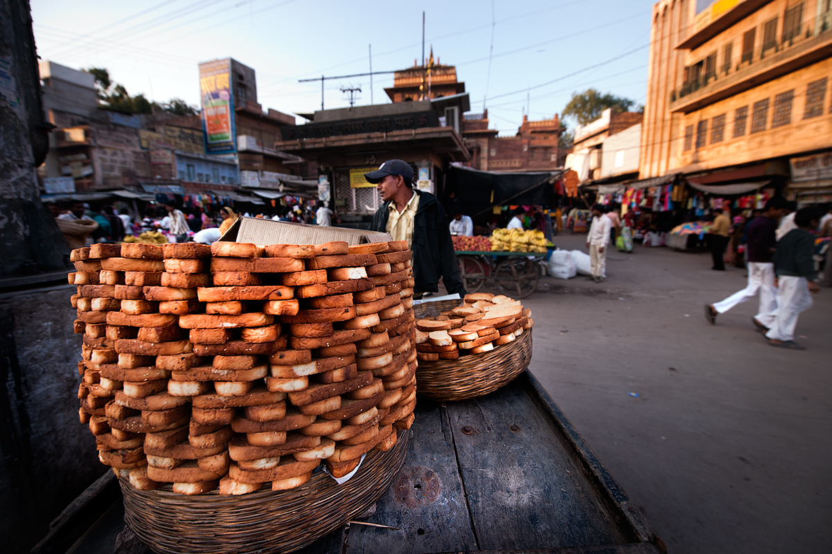 Fresh toasted bread is sold on streets of Jaisalmer.