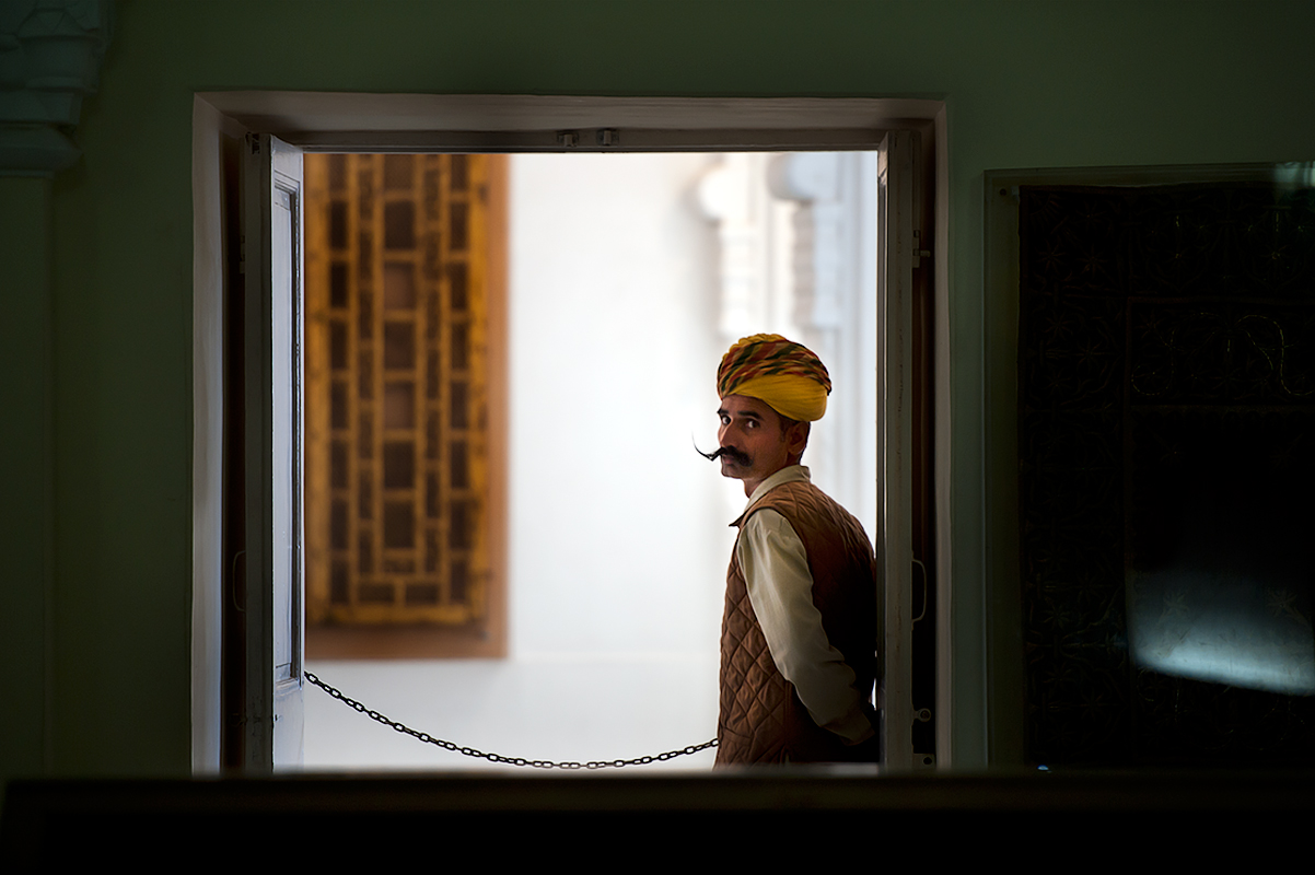 A guard inside the Mahrangarh Fort, Jodhpur, Rajastan.