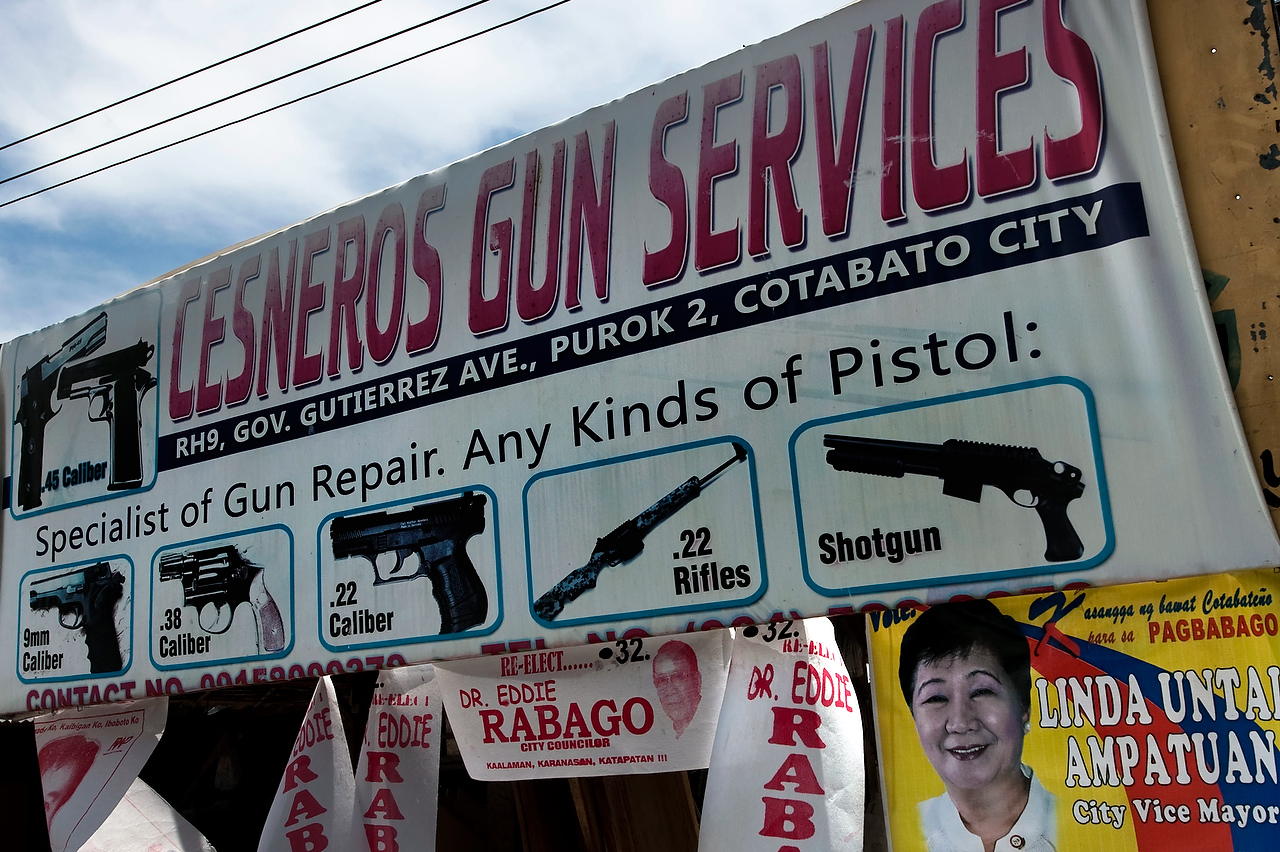 The workshop repairs all types of guns and calibers. Clients include the Army, the police, MILF rebels, civilians and anyone who brings the gun for repair. The gun license is not required.The army estimaes that more than one million pieces of weapons are in hands of civilians in the Philippines while the majority of it is in Mindanao.