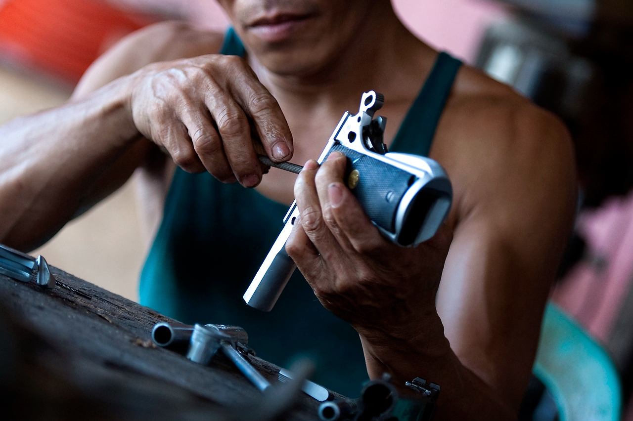 Samih is the hand gun specialist and he's been reparing guns for more than 20 years.
