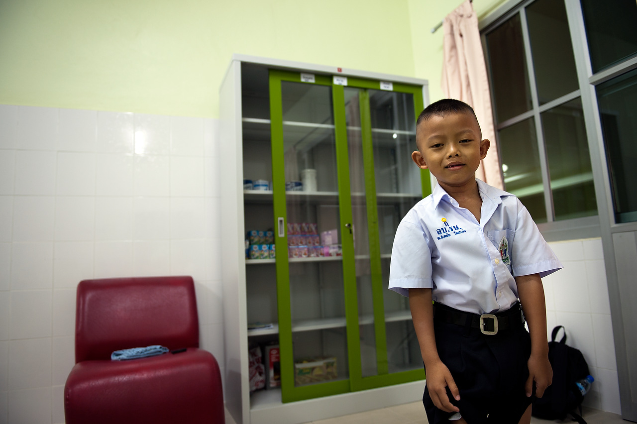HIV positive children are often discriminated against in public schools due to social prejudice and lack of education amongst students and staff. This child is HIV positive and stays Camillian Home; he is the only live-in patient enrolled at a public school.