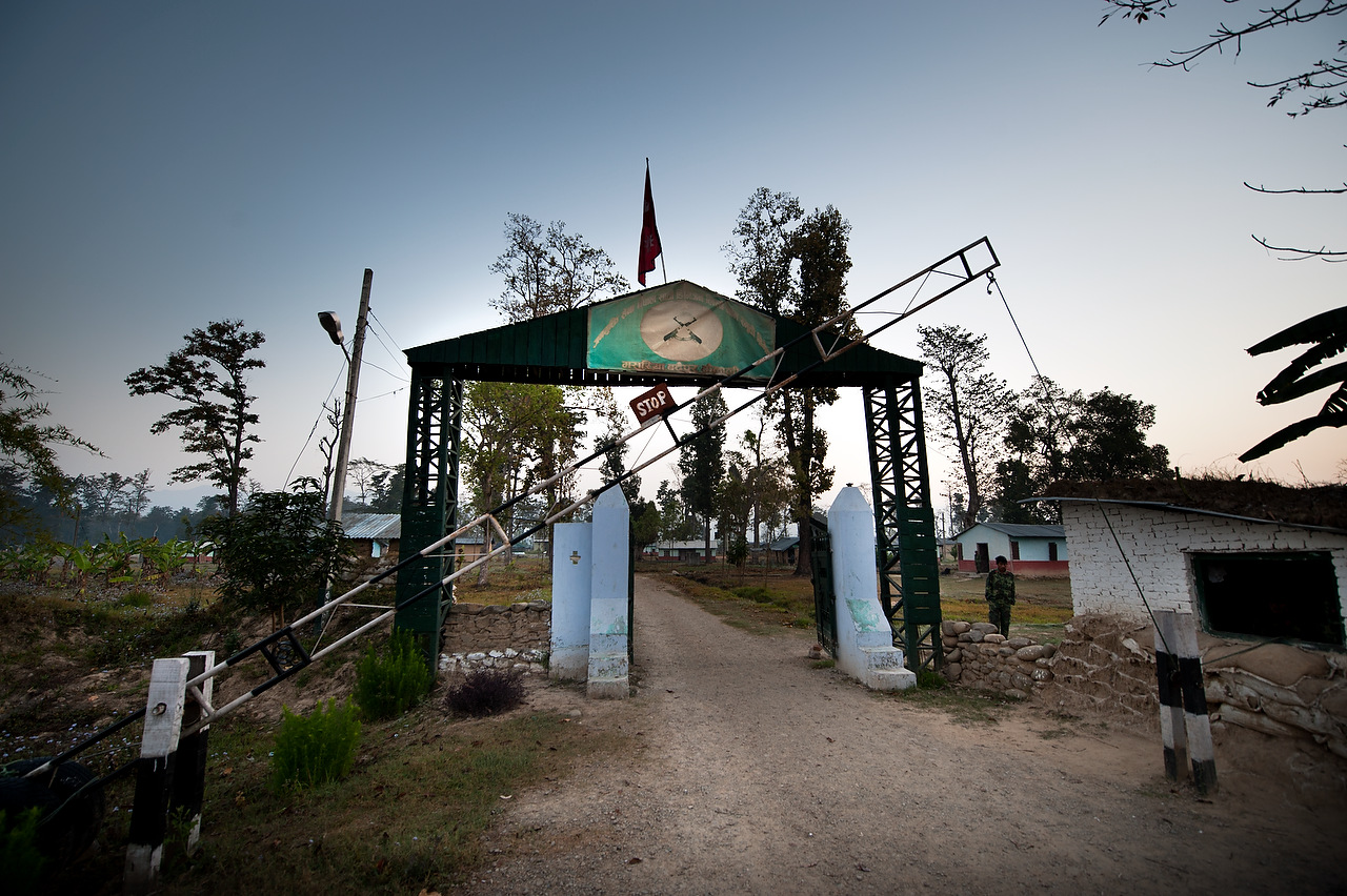 Entrance into the cantonment of Lishnegam Memorial Brigade in Kailali. Over 19,600 People's Liberation Army (PLA) fighters live uncertain life in 7 cantonments throughout Nepal hoping for eventual integration into Nepal Army.