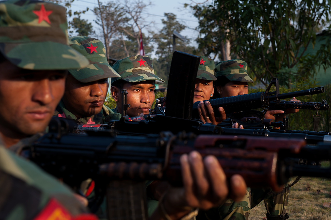 PLA fighters during the training in Kilali camp.As per comprehensive peace agreement between Nepal Army and the People's Liberation Army, all weapons and ammunition will be securely stored within camps except those needed for providing security of the camps.