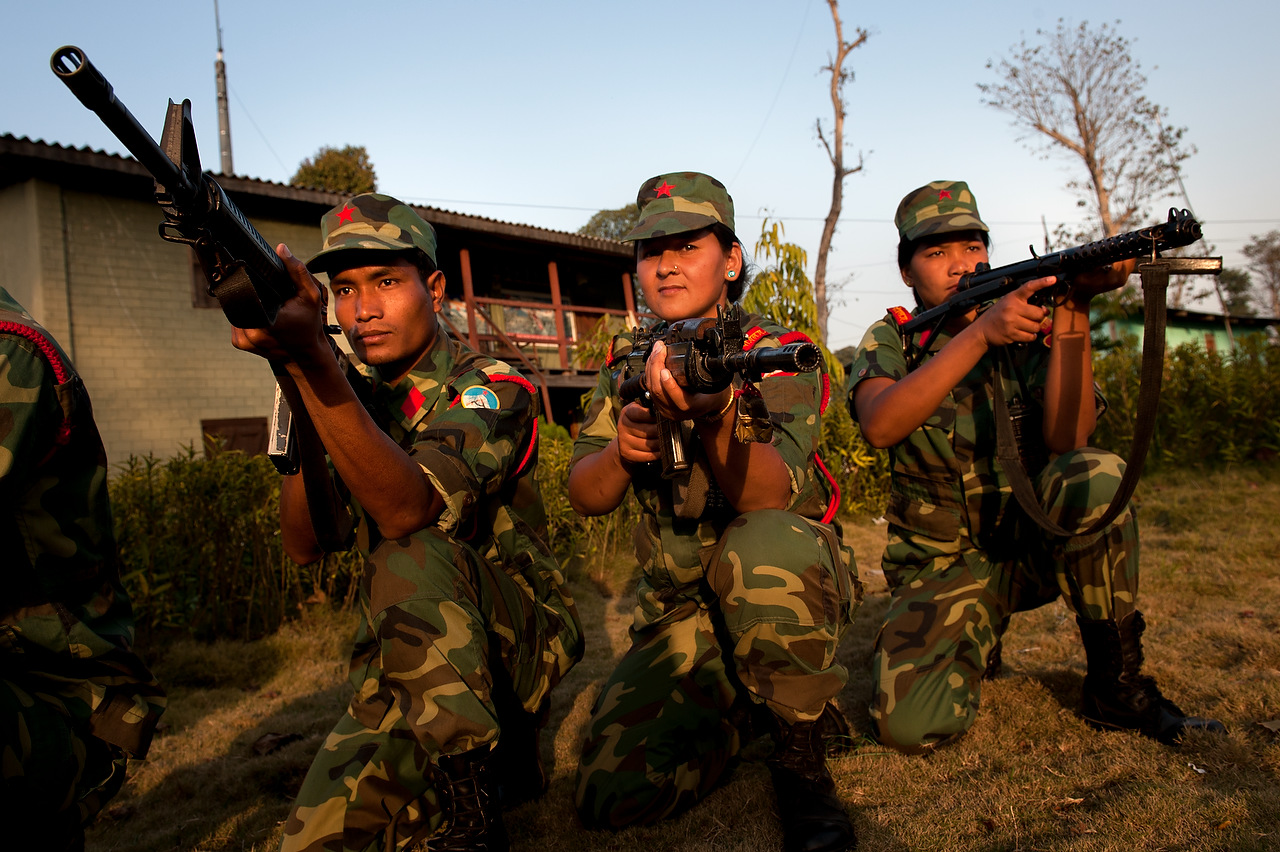 Women fighters compose almost one third of the PLA.As per comprehensive peace agreement between Nepal Army and the People's Liberation Army, all the weapons and ammunition will be securely stored within camps except those needed for providing security of the camps.