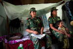 PLA female fighters in their dormitory upon return from training in Lishengam memorial brigade conatonment in Kilali in far western region of Nepal. Some 6,000 female fighters waiting to be intergrated in the Nepal Army.