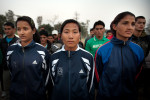 PLA fighters Madhu Bhatta Kanchanpur (L), Tiisara Saru Magor (middle) and Kamala Shahi (R) are members of the Nepal National Voleyball Team.