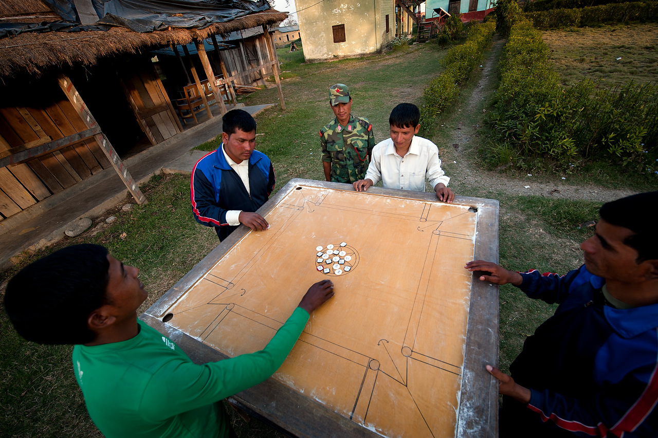 PLA fighters play game of karam at Lokesh memorial brigade of PLA cantonment in Gorange, far western region, Nepal.