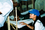 Hollywood actress Angelina Jolie, UNHCR's good will ambassador talks to the doctor while on the bed side of the injured girl at the pediatrics ward of Valvetithurai hospital in Northern Sri Lankan district of Jaffna. Valvetithurai hospital is catering more than 20,000 people of the District with only one doctor and no maternity ward.  Donation made by Angelina Jolie during her visit enabled hospital to rebuilt pediatrics ward and labor room.