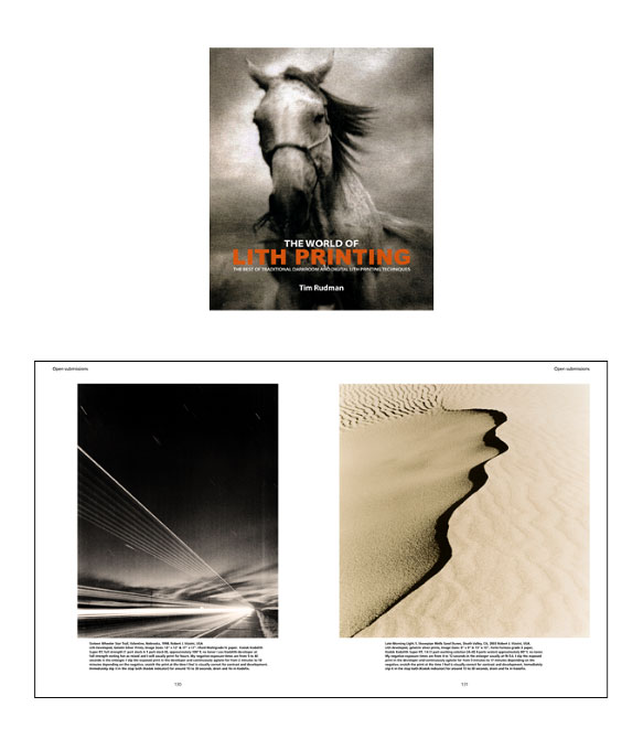 From The World of Lith Printing,     By Tim Rudman, Published by Argentum (2006)Sixteen Wheeler Star Trail,     Valentine, Nebraska, 1998    Robert J. Vizzini, USALith developed, gelatin silver prints, Image Sizes: 13{quote} x 13{quote} & 17{quote} x 17{quote}. Ilford Multigrade IV paper, Kodak Kodalith Super RT developer, full strength (1 part stock A 1 part stock B), approximately 100 degrees F, no toner. I use Kodalith developer at full strength starting hot as mixed and I will usually print for hours. My negative exposure times are from 5 to 40 seconds in the enlarger. I slip the exposed print in the developer and continuously agitate for from 2 minutes to 10 minutes depending on the negative, snatch the print at the time I feel is visually correct for contrast and development. Immediately slip it in the stop bath (Kodak indicator) for around 15 to 30 seconds, drain and fix in Kodafix.Late Morning Light.1,     Stovepipe Wells Sand Dunes,     Death Valley, CA, 2003     Robert J. Vizzini, USALith developed, gelatin silver prints, Image Sizes: 9{quote} x 9{quote} & 15{quote} x 15{quote}. Forte Fortezo grade 3 paper, Kodak Kodalith Super RT developer, 1:4 (1 part working solution [A+B] 4 parts water) approximately 80 degrees F, no toner. My negative exposure times are from 4 to 12 seconds in the enlarger usually at f4-5.6. I slip the exposed print in the developer and continuously agitate for from 5 minutes to 17 minutes depending on the negative, snatch the print at the time I feel is visually correct for contrast and development. Immediately slip it in the stop bath (Kodak indicator) for around 15 to 30 seconds, drain and fix in Kodafix.